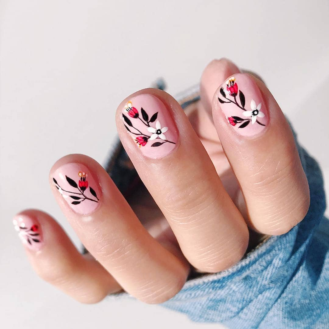 Cute Cherry Blossom Flower Nails
