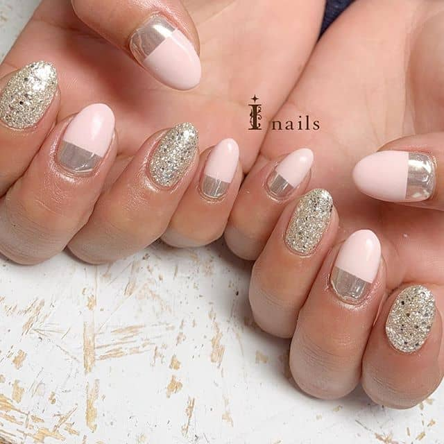 Silver Nail Designs with Pink Tips