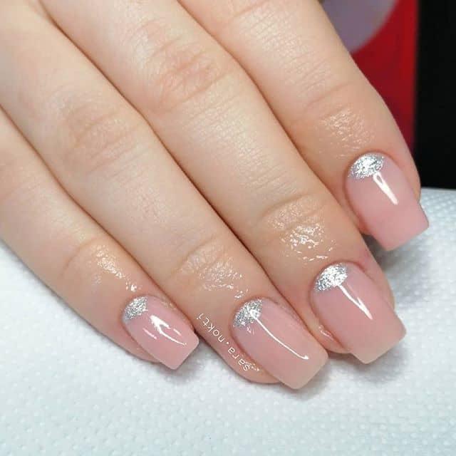 Subtle Silver Cubicle Pink Fingernails