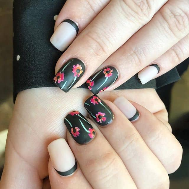 Reverse French Manicure Flower Nails