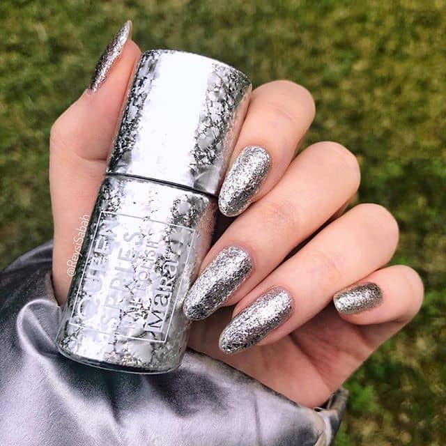 Long Round Tipped Silver Nail Designs