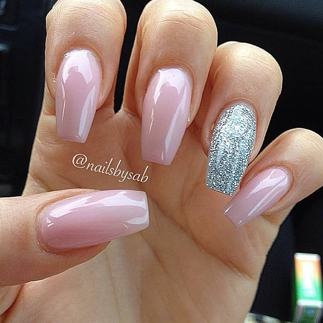 Square Tipped Pink and Shimmery Silver Nail Art