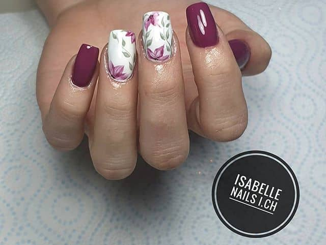 Romantic Magenta Manicure with Vines