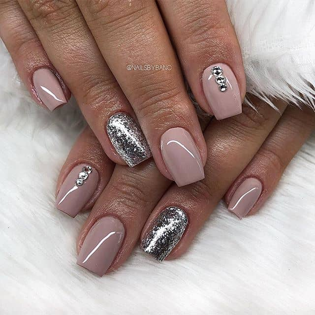 Silver and Pink Gemstone Nail Design