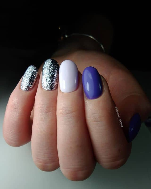 Mix Match Purple and Silver Nails