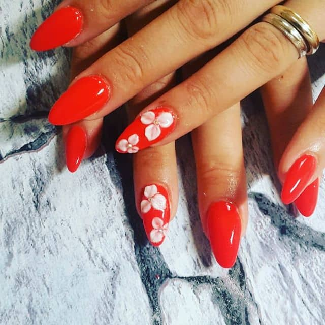 Electric Red Hawaiian Flower Nails