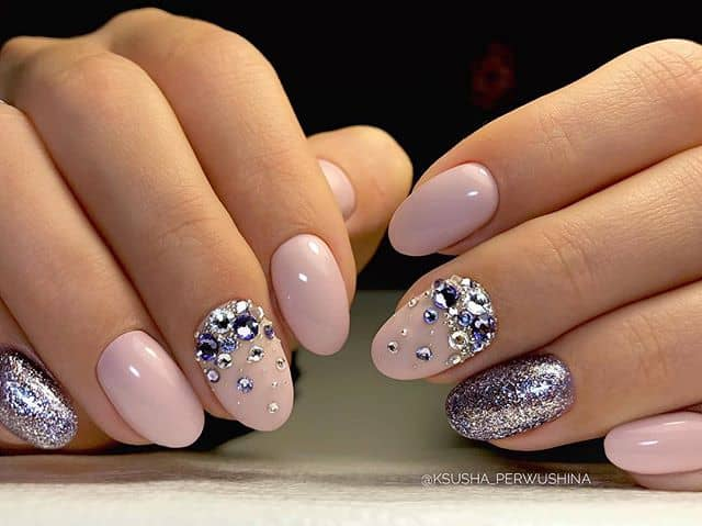 Purple Gemstones with Pink and Silver Nails