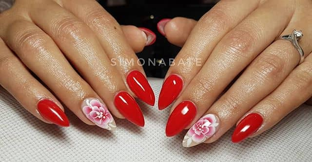 Striking Red Claw Flower Nail Idea