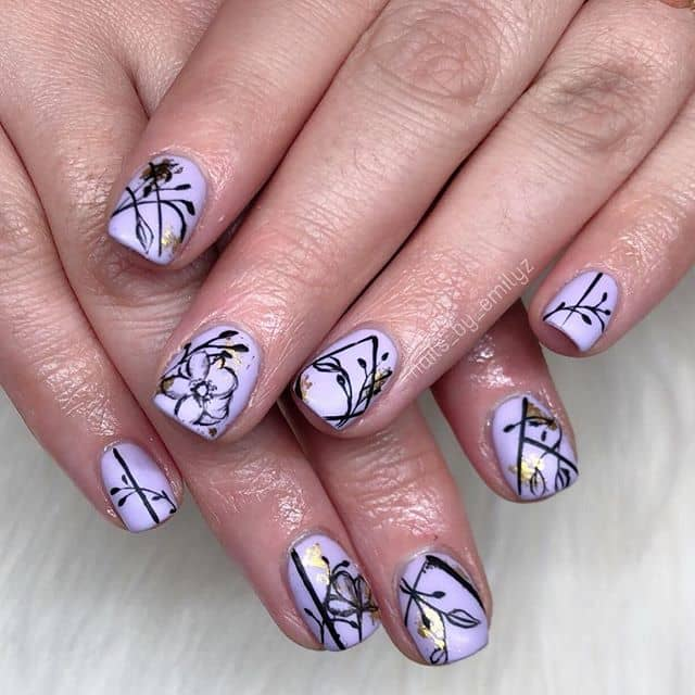 Cool Lavender and Gold Foil Flower Nails