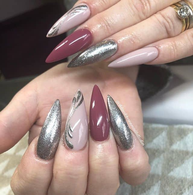 Sharp Tear Drop Silver Nails