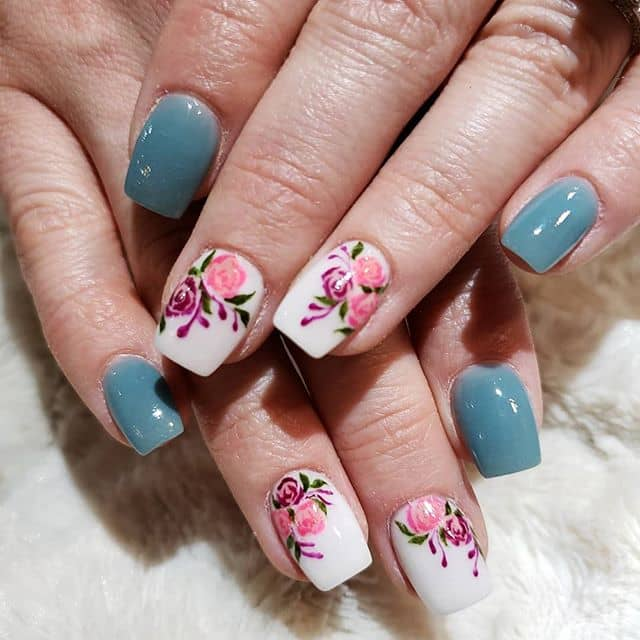French Country Blue and Flower Nail Art