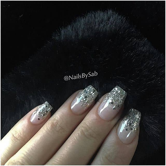 Square Tipped Glittery Silver Nails