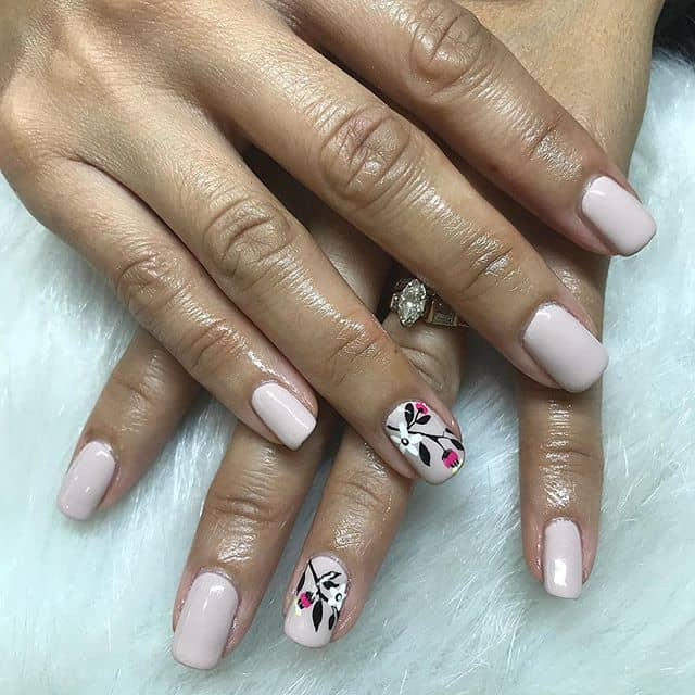 Basic Nude Color with Flower Nail Art