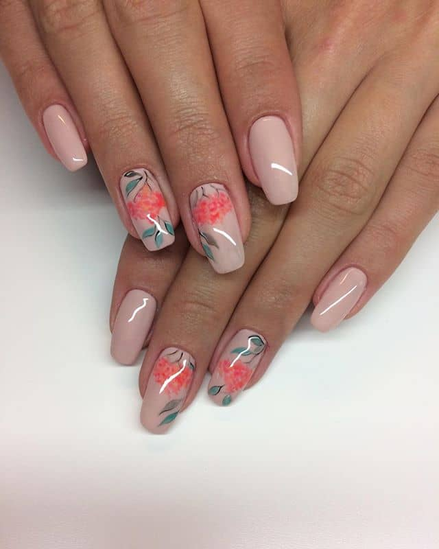 Classy Nude Flower Nails