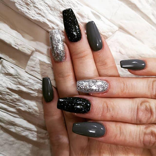 Black, Grey and Silver Nail Art Designs