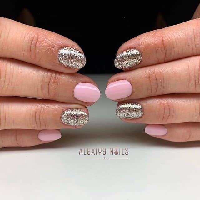 Alternated Pink and Silver Glitter Nail Designs