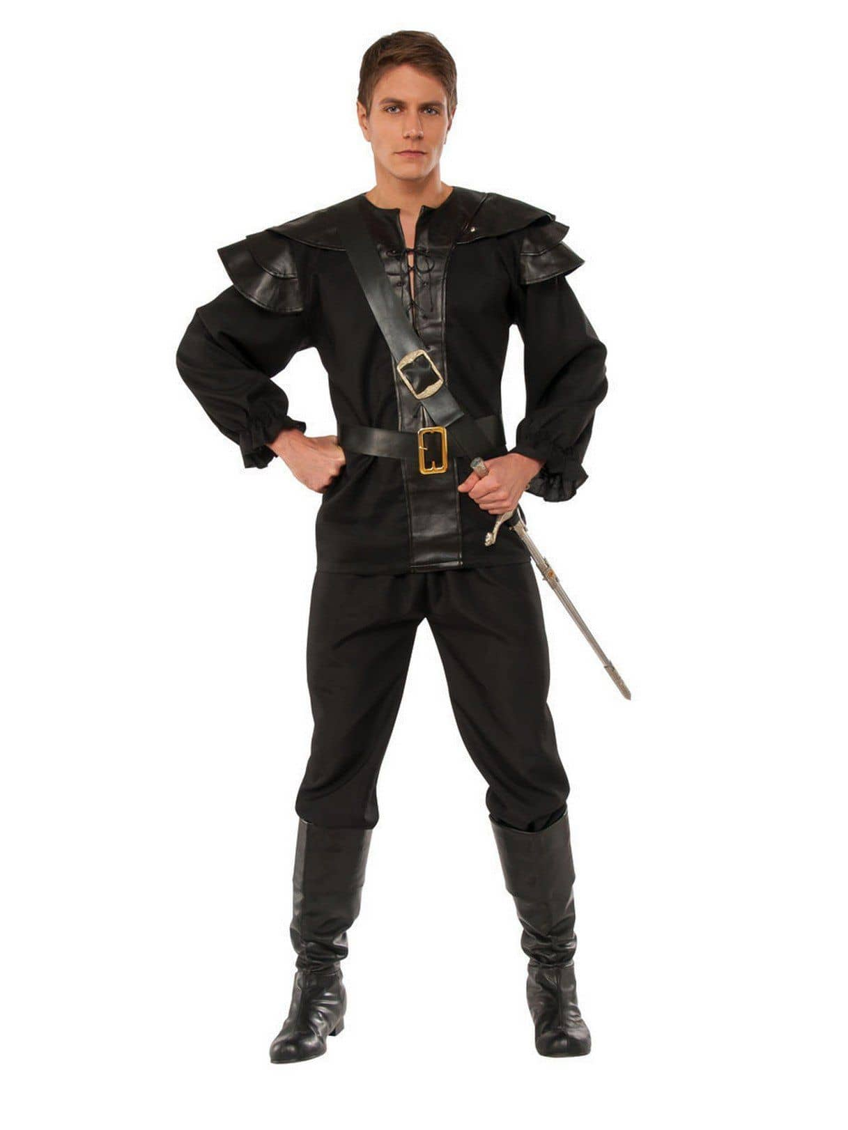 Tattered Pirate Shirt Black Adult Costume