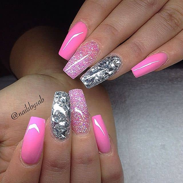 Bright Neon Pink and Metallic Silver Square Tips